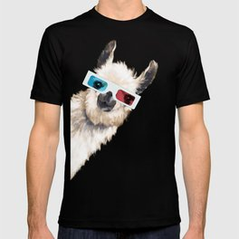 Sneaky Llama with 3D Glasses in Pink T-shirt