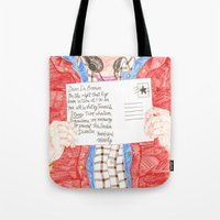 postcard Tote Bags featuring Postcard by cristina zavala