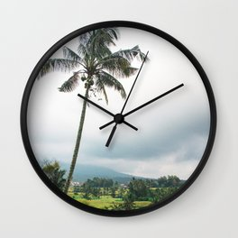 Lone Palm Tree | Nature Landscape Photography of Bali Indonesia Rice Field Terraces Wall Clock