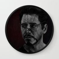robert downey jr Wall Clocks featuring Robert Downey Jr by Oput Studios