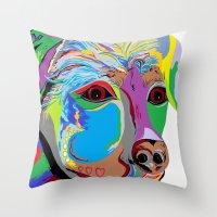 rottweiler Throw Pillows featuring Rottweiler by EloiseArt