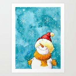 A snowman in winter wonderland Art Print