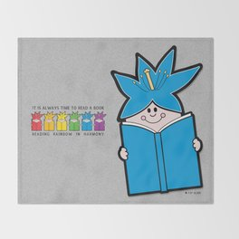 Reading Rainbow in Harmony - Blue Throw Blanket