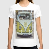 lime green T-shirts featuring Lime Green Camper Van Front by Cornish Creations