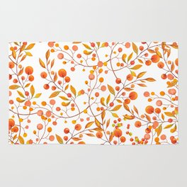 Hand painted orange gold fall berries floral Rug