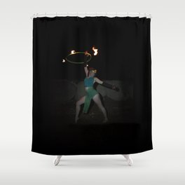 Halo of Fire - Fire Hoop Performance Shower Curtain