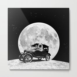See you on the Moon - Old car - Model T - Spaceship, Astronaut - Retro - Astronomy Metal Print