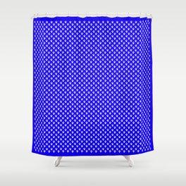 Tiny Paw Prints Pattern - Bright Blue & White Shower Curtain