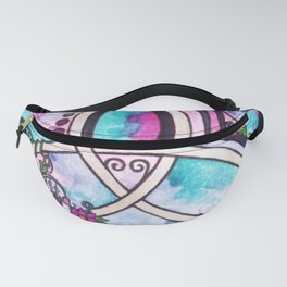 Bright Beautiful Watercolor Celtic Pagan Triquetra Fanny Pack