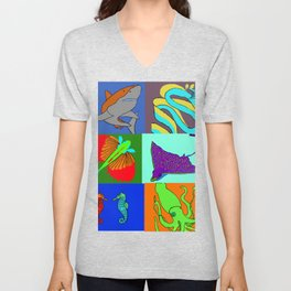 Sea Animals pop art Unisex V-Neck