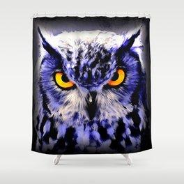 owl look digital painting reacdb Shower Curtain