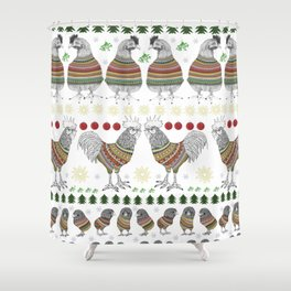 Christmas Chicken Knit Shower Curtain