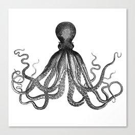Antique Nautical Steampunk Octopus Vintage Victorian Kraken sea monster emo goth drawing Canvas Print