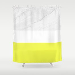 Marble Yellow White Color Block Modern Geometry Shower Curtain