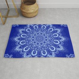 Blue Boho Mandala Flower Rug