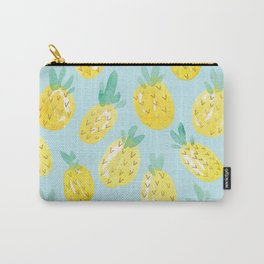 Watercolour Pineapples on Blue Carry-All Pouch