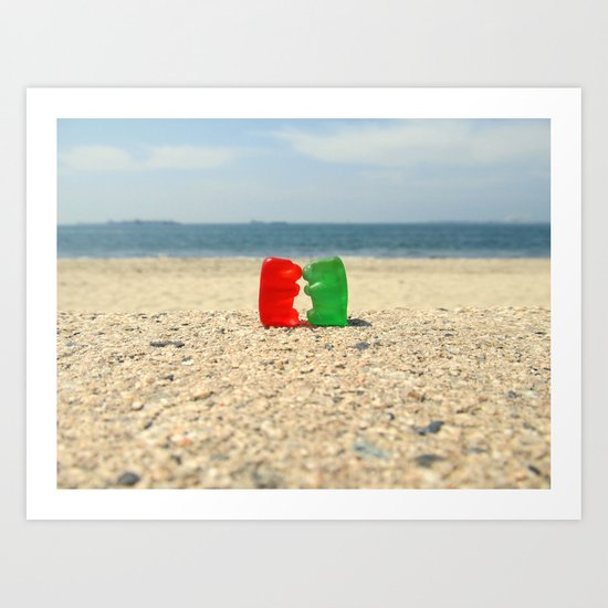 Gummy Bear Beach Kiss Art Print