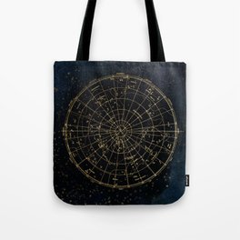 Golden Star Map Tote Bag