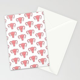 Patterned Happy Uterus in White Stationery Cards