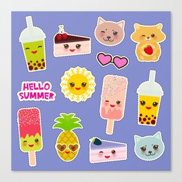 Hello Summer. Pineapple, cherry smoothie cup, ice cream, sun, cat, cake, hamster. Kawaii cute face. Canvas Print
