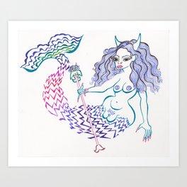Mermaid Trouble Art Print