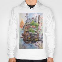 calcifer Hoodies featuring Howls Moving Castle Painting 2 by Little Miss Marikit