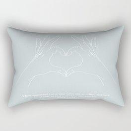 Love One Another John 13:34 Line Art Sketch Blue Rectangular Pillow