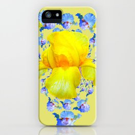 YELLOW & BLUE-WHITE IRIS BLACK ABSTRACT PATTERN iPhone Case