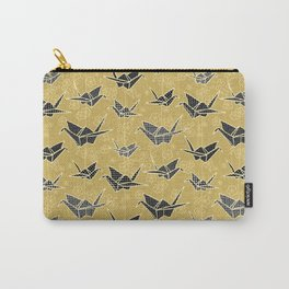 Black and Gold Japanese Origami Cranes Carry-All Pouch