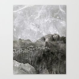 A cloud of white birds Canvas Print