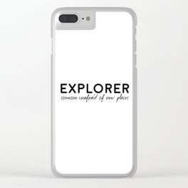 Explorer, Travel Gift, Travel Quote, Home Adventure Decor, Exploring Quote, Eager For Adventure Clear iPhone Case