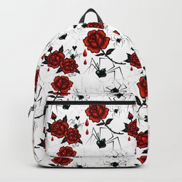 Black Widow Spider with Red Rose Backpack
