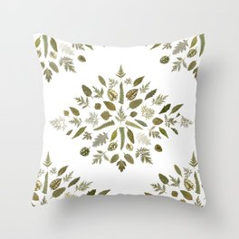 Collage of Leaves Throw Pillow