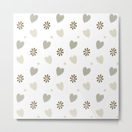 Hearts & Flowers Minimalist Continuous Pattern - Beige White Brown Metal Print