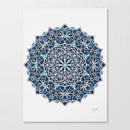 Eight Fold Mandala 6 in Blue Canvas Print