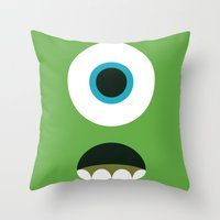 mike wrobel Throw Pillows featuring Mike Wazowski by Adrian Mentus