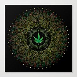 Magic plant. Marijuana leaf. mandala Canvas Print