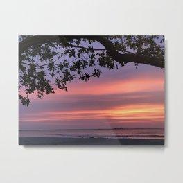 Tropical Sunset in Purple through Trees.  Metal Print