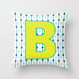 Letter B Monogram Blue, Green and Yellow with Pattern Throw Pillow
