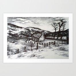 Barn in the hills Art Print