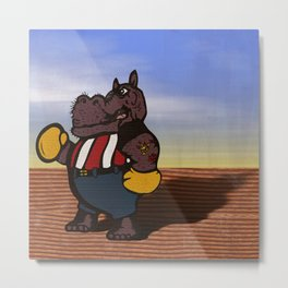 Hippo Pugilist at the Beach Metal Print