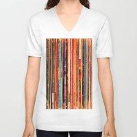 vinyl V-neck T-shirts featuring Vinyl by bomobob