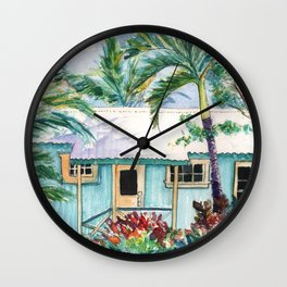 Tropical Vacation Cottage Wall Clock