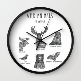 Wild animals in Sweden Wall Clock