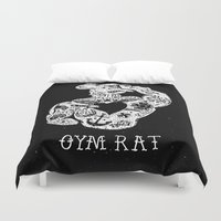 rat Duvet Covers featuring Gym Rat by Textures