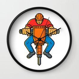 Construction Worker Jackhammer Mono Line Art Wall Clock