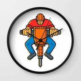 Construction Worker Jackhammer Mono Line Art Wall Clock
