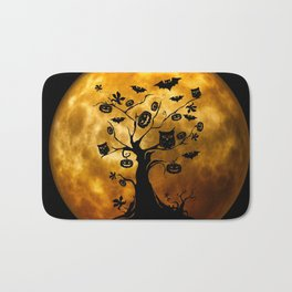 Surreal halloween tree with pumpkins, bats and owls Bath Mat
