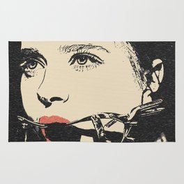 Talking heads, there is always way to change that, BDSM erotic artwork, gagged beauty portrait Rug