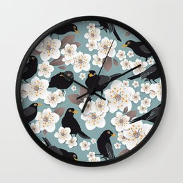 Waiting for the cherries I // Blackbirds blue background Wall Clock